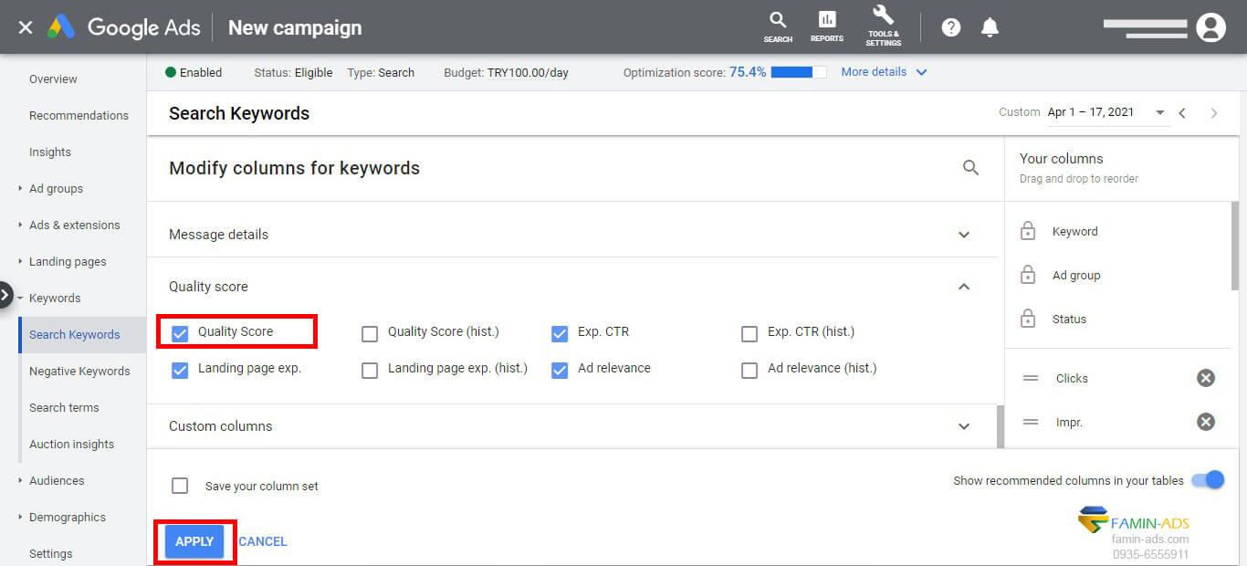 اضافه کردن ستون امتیاز کیفی گوگل ادز به قسمت داشبورد