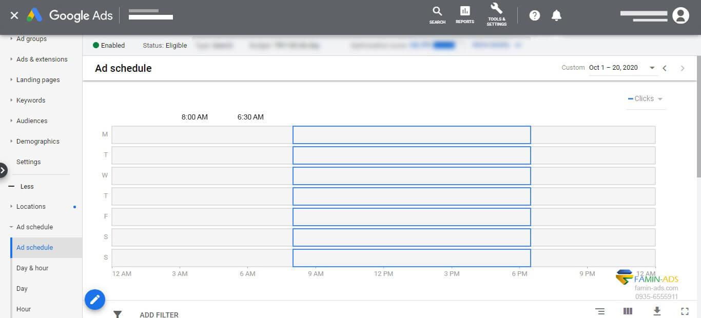 ایجاد زمانبندی در گوگل ادوردز