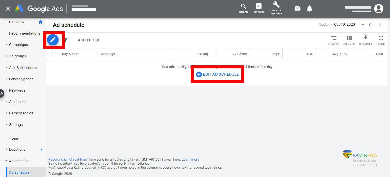نحوه ایجاد زمانبندی در تبلیغات گوگل