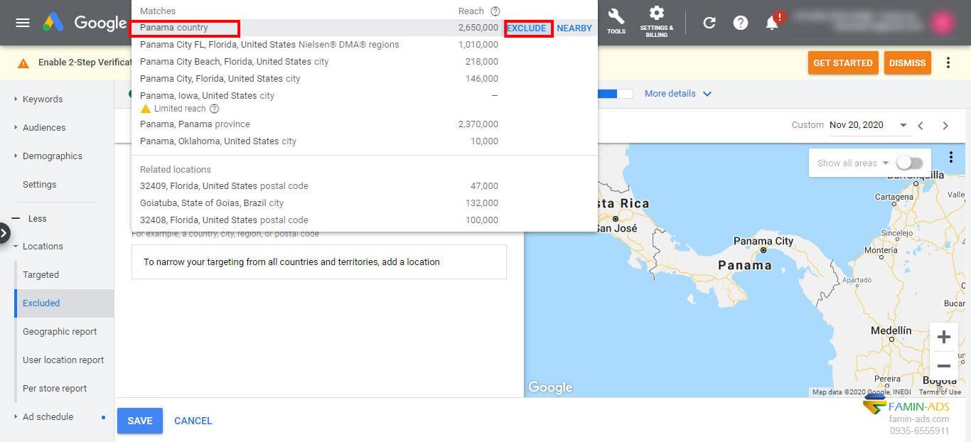 حذف لوکیشن در تبلیغات گوگل به منظور جلوگیری از کلیک های فیک