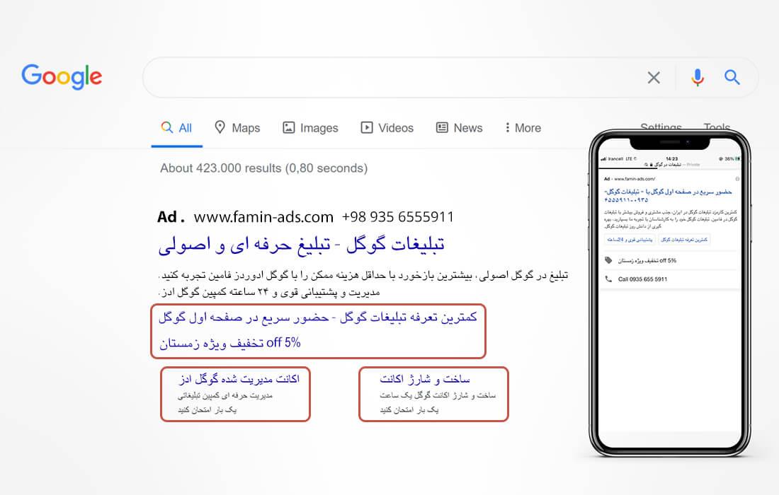 استفاده از افزونه های گوگل ادز در متن تبلیغات گوگل