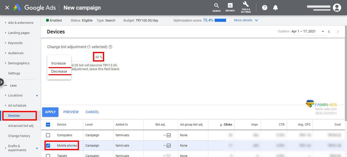 تنظیمات هزینه دستگاه های مختلف و نقش آن در بهینه سازی تبلیغات گوگل