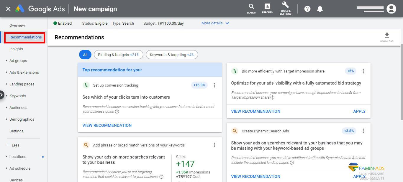 بررسی بخش recommendation گوگل ادز برای بهینه سازی تبلیغات گوگل