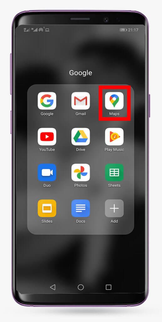 اپلیکیشن گوگل مپ، برای ثبت لوکیشن در گوگل