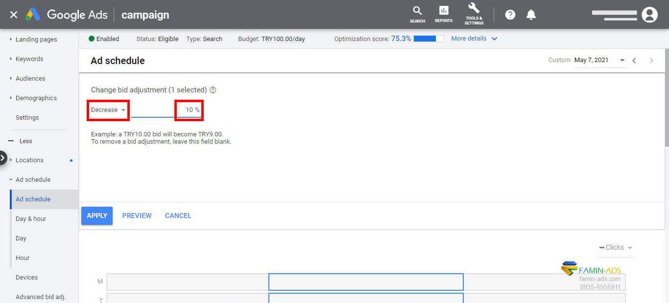 Bid adjustment گوگل ادز بر اساس زمانبندی تبلیغات