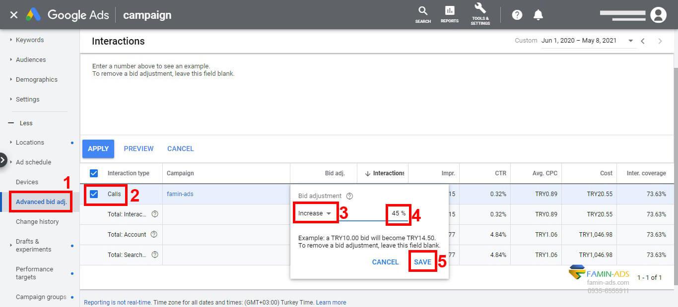 تنظیمات پیشرفته Bid adjustment در گوگل ادز