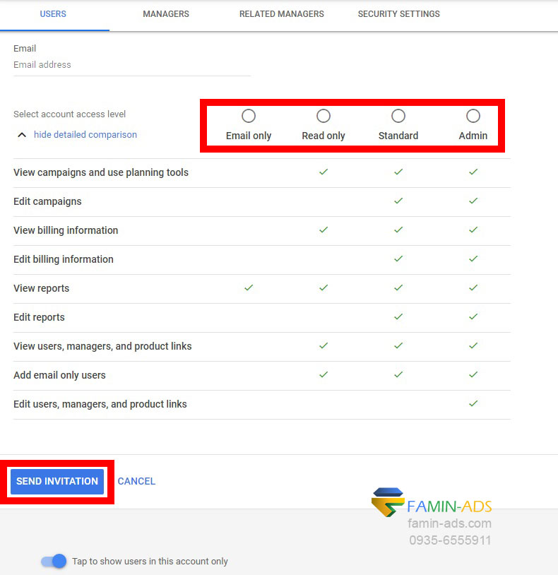 انواع سطوح دسترسی در گوگل ادز